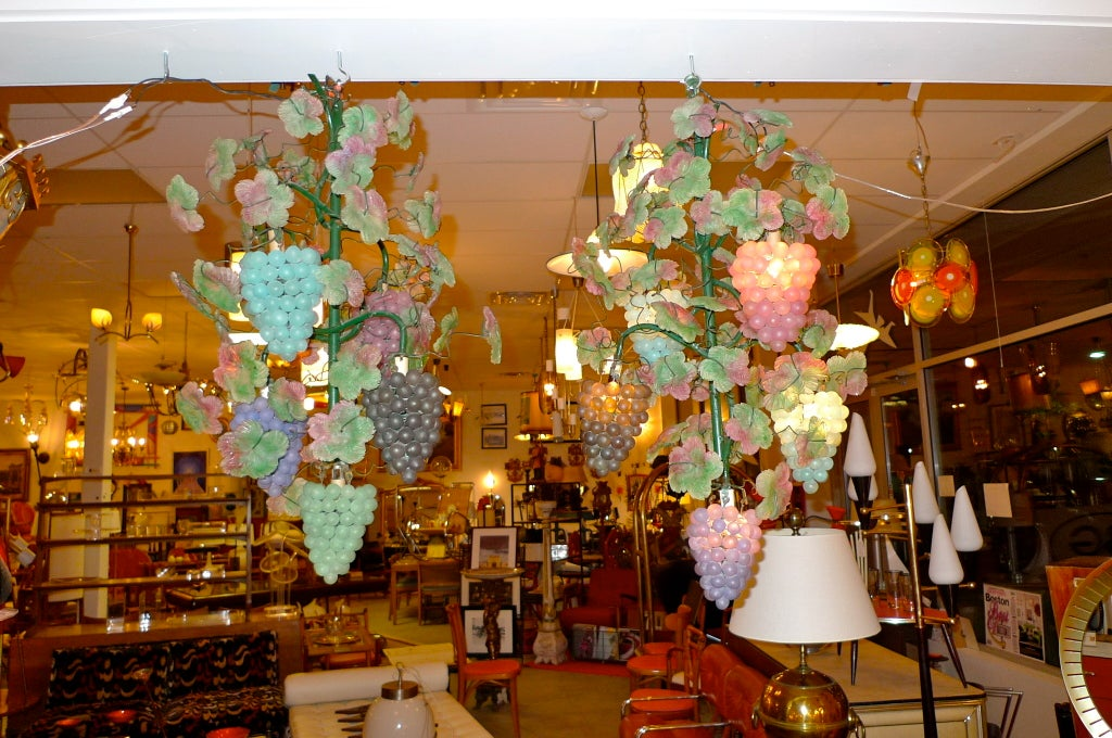 Pair of Italian Iron & Glass Grape Vine Chandeliers In Excellent Condition For Sale In Hingham, MA