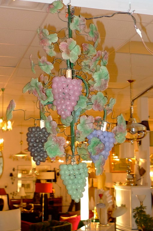 Mid-20th Century Pair of Italian Iron & Glass Grape Vine Chandeliers For Sale