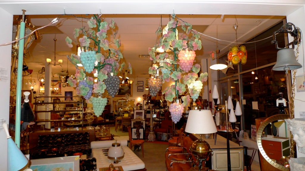 Art Glass Pair of Italian Iron & Glass Grape Vine Chandeliers For Sale