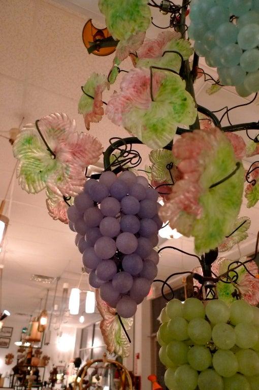 Pair of Italian Iron & Glass Grape Vine Chandeliers For Sale 3