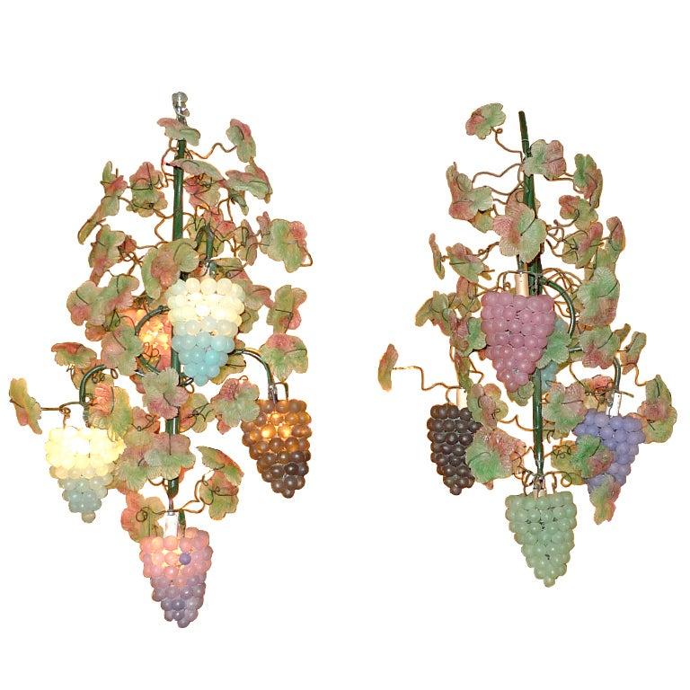 Pair of Italian Iron & Glass Grape Vine Chandeliers