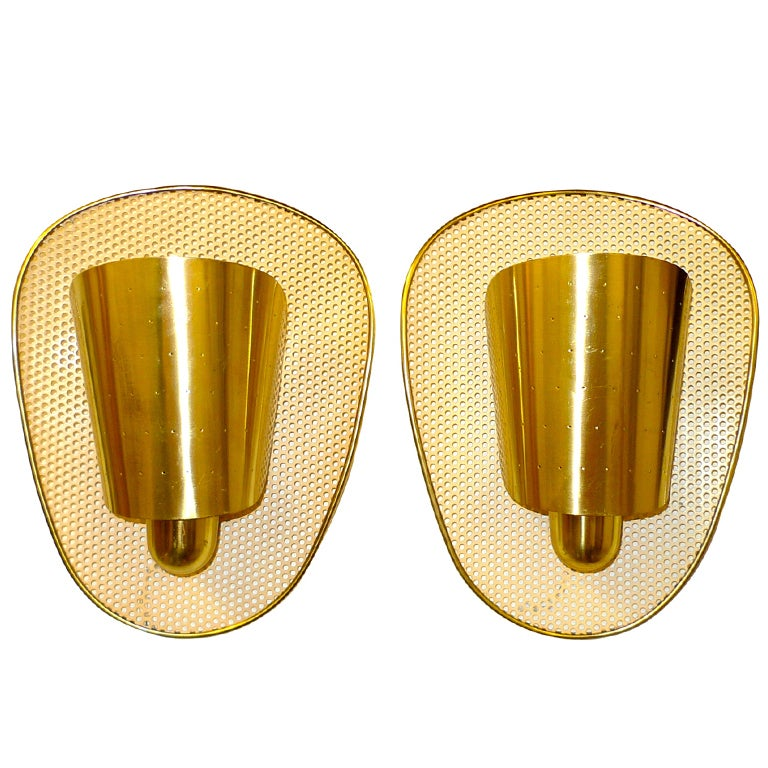 Set of 3 Brass & Perforated Metal Sconces by Jacques Biny