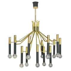 Brass & Black Enameled Metal Stilnovo Chandelier
