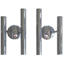 Pair of Italian Tubular Chrome Sconces