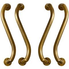 Double Pair of Large Serpentine Bronze Door Handles