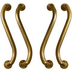 Double Pair of Large Serpentine Bronze Door Handles