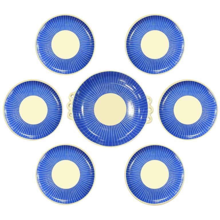 Blue & White Ceramic Dessert Set by Pucci Umbertide