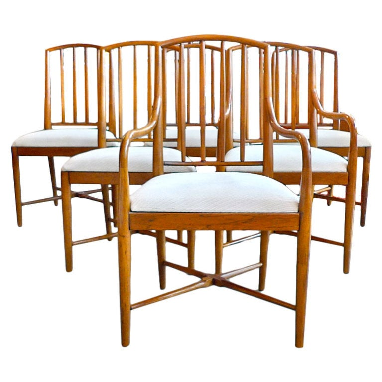 Seven Robsjohn-Gibbings Style Spindle Back Walnut Dining Chairs
