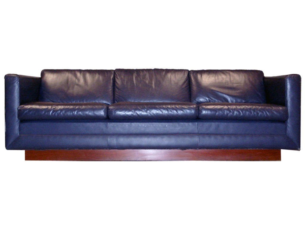 Milo Baughman Tuxedo Sofa With Mahogany Plinth At Stdibs - Mahogany leather sofa