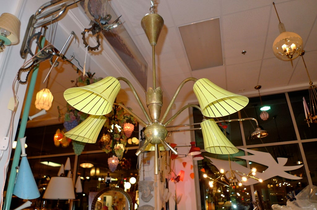 Mid 20th Century French 1950 S Brass Chandelier With Yellow Glass Shades For