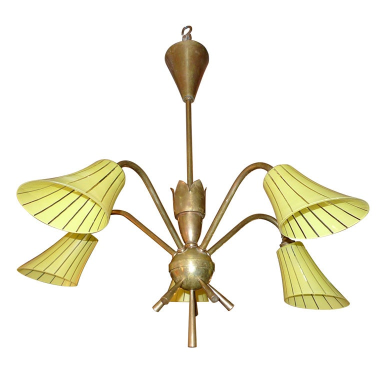 French 1950's Brass Chandelier with Yellow Glass Shades