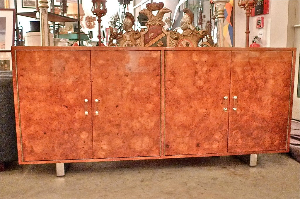 Exotic Burl Wood Sideboard with Chrome Legs & Lucite Handles For Sale 5