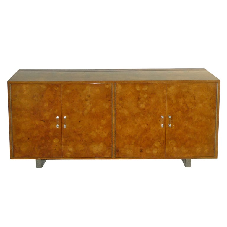 Exotic Burl Wood Sideboard with Chrome Legs & Lucite Handles For Sale