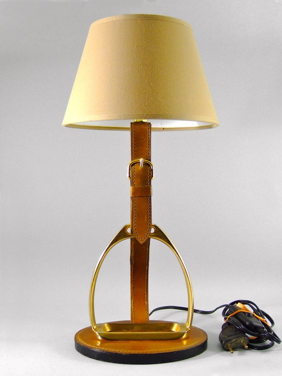 French Brass and Equestrian Stitched Leather Lamp by Longchamps ...