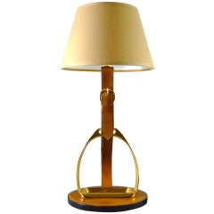French Brass & Equestrian Stitched Leather Lamp by Longchamps