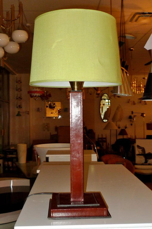 French 1950's Saddle Stitched Leather Square Column Lamp For Sale 1