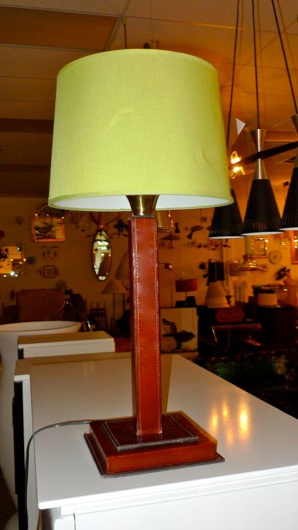 French 1950's saddle stitched leather square column lamp attributed to Longchamps and in the style of Dupre-Lafon and Jacques Adnet.