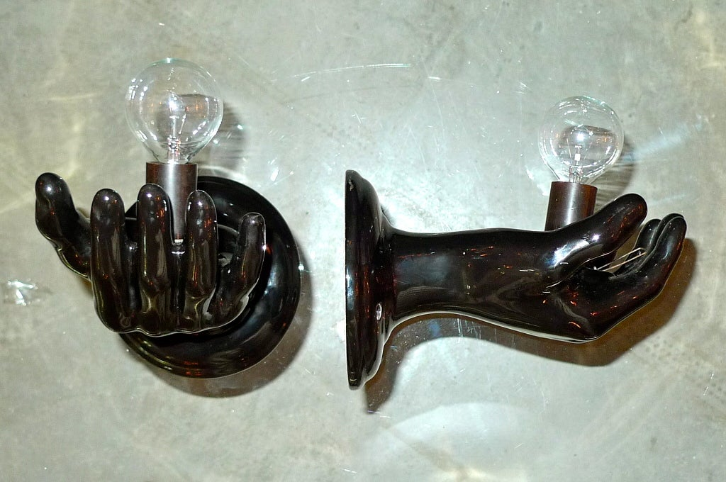 Italian Ceramic Wall Sconces : 1960 s Italian Ceramic Sconces in form of Black Hands at 1stdibs
