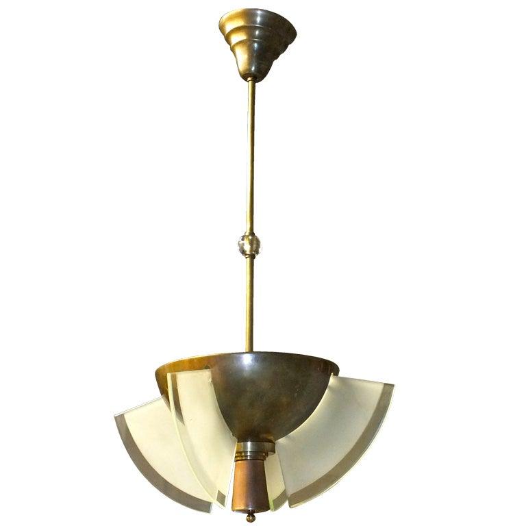 French Modernist Bronze & Glass Pendant
