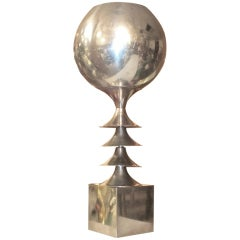 Aluminum Modernist French Table Lamp