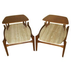Pair of Step-End Tables in Walnut & Floating Travertine Marble