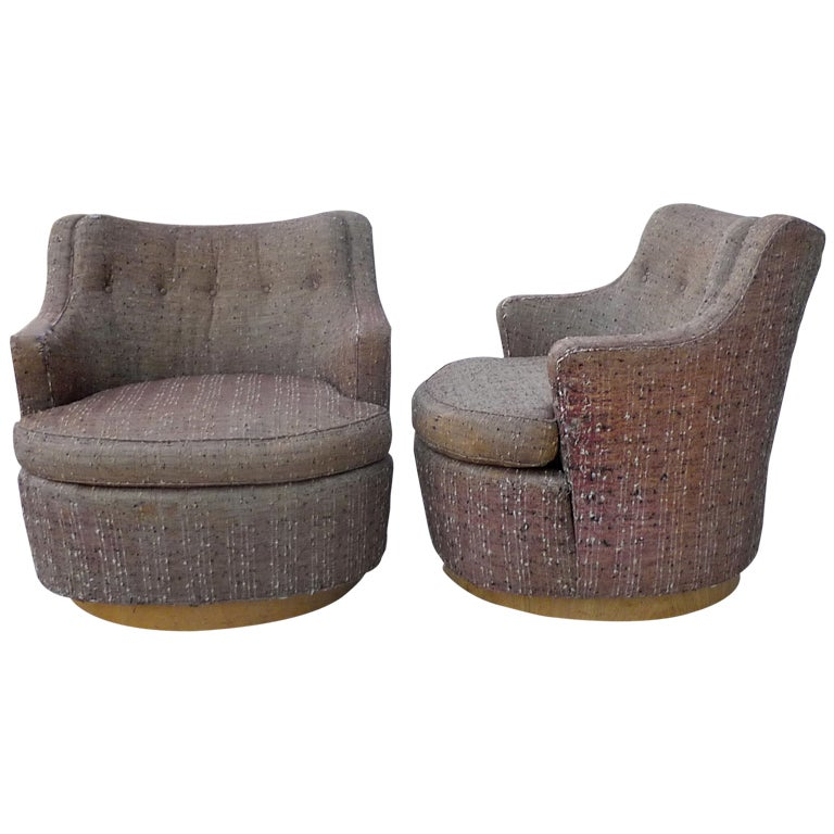 Pair Of Revolving Television Chairs By Edward Wormley For