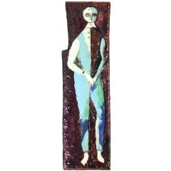 """The Farmer"" Enamel on Copper by Bruno Santini, 1954"