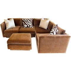 Vintage L Shaped Sectional Sofa with Ottoman