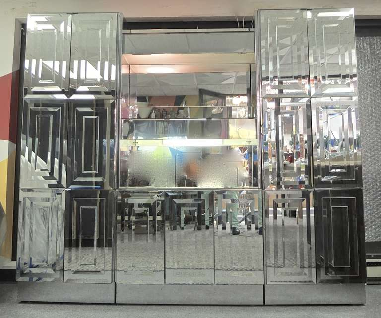 Ello Mirrored and Illuminated Display Cabinet and Bar at 1stdibs