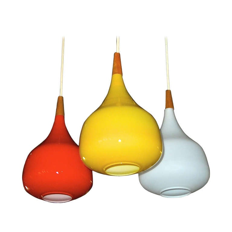 Colorful Swedish Cased Glass Three Globe Pendants For Sale