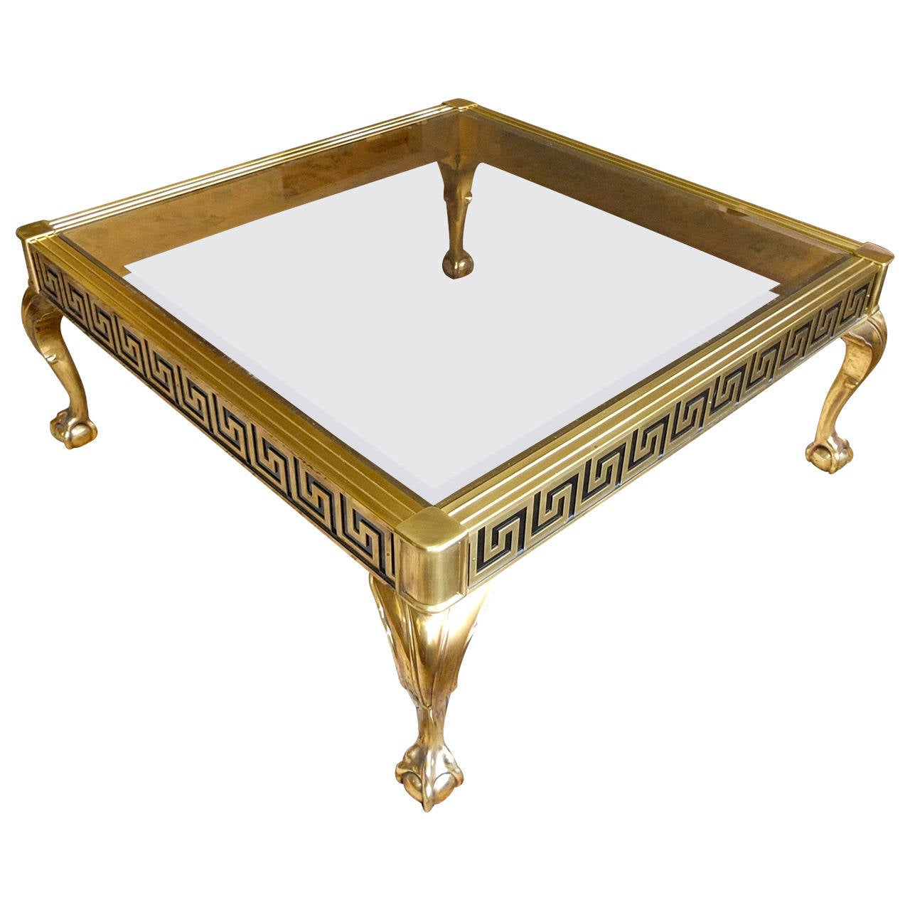 Solid Brass And Tinted Glass Square Cocktail Table At 1stdibs