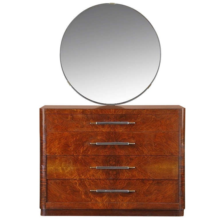 American Art Deco Dresser With Streamline Mirror At 1stdibs