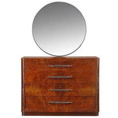 American Art Deco Dresser with Streamline Mirror