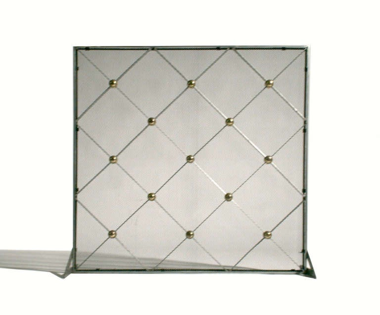 steel and brass fireplace screen or grille at 1stdibs