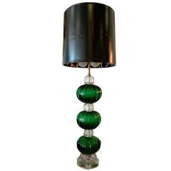 Seguso Emerald Green Vintage Murano Glass Ball Lamp