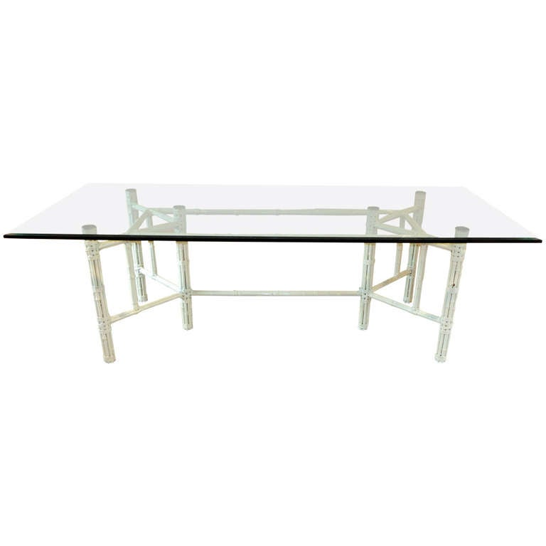 white bamboo and glass rectangular dining table by john mcguire for sale at 1stdibs. Black Bedroom Furniture Sets. Home Design Ideas