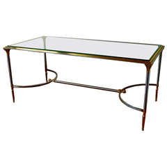 Vintage Polished Steel and Brass Cocktail Table from Yale Burge