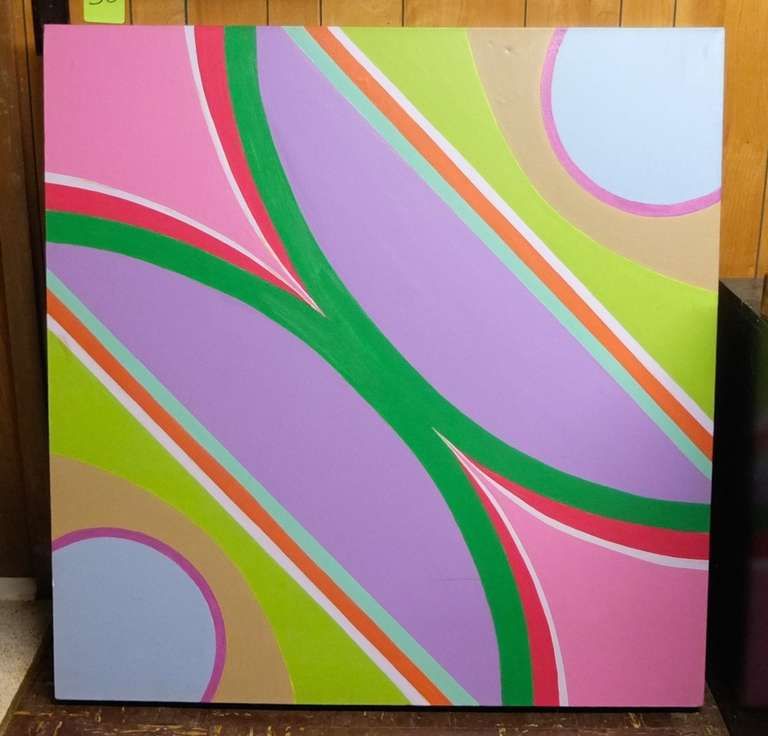 Large Scale Abstract Geometric Painting by Marguerite Abdun-Nabi For Sale 1