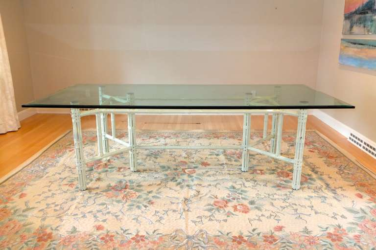 White Bamboo and Glass Rectangular Dining Table by John McGuire For