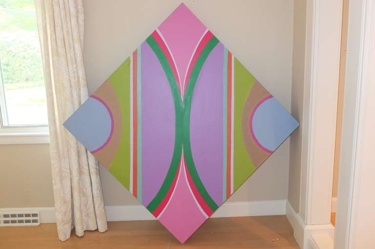 Designed to be hung on the diagonal or square this painting by Marguerite Abdun-Nabi shows her playful use of color in structural geometries.
