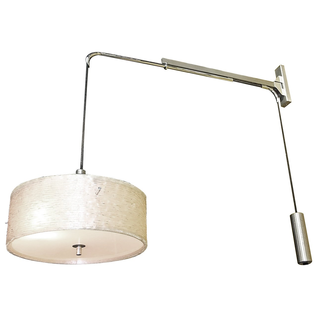 French 1950s Counterbalance Swing-Arm Wall Lamp by Lunel