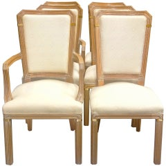 Set of 6 Maison Jansen Cerused Oak Dining Chairs