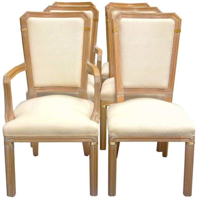Set Of 6 Maison Jansen Cerused Oak Dining Chairs
