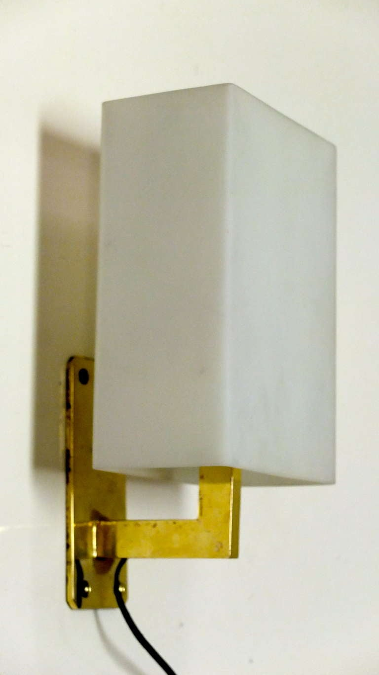 Glass Box Wall Lights : Pair of Italian Brass Sconces With Satin Glass Box Shades at 1stdibs