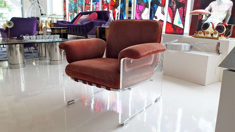 Pace Collection Lucite Lounge Chair For Sale 2