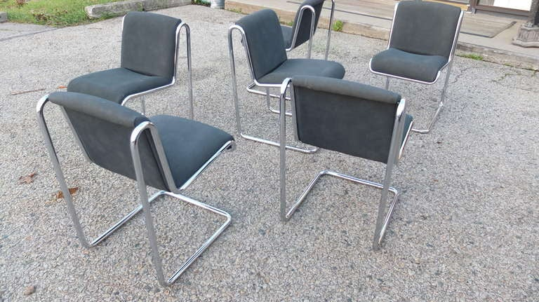 6 Thonet Dining Chairs Reverse Cantilevered Tubular Chrome
