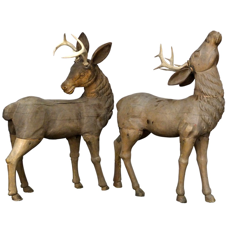 Folk Art Carved Deer With Real Antlers