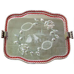 1940's Venetian Glass & Etched Mirror Serving Tray