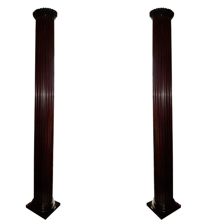 Pair of Antique Mahogany Columns 1