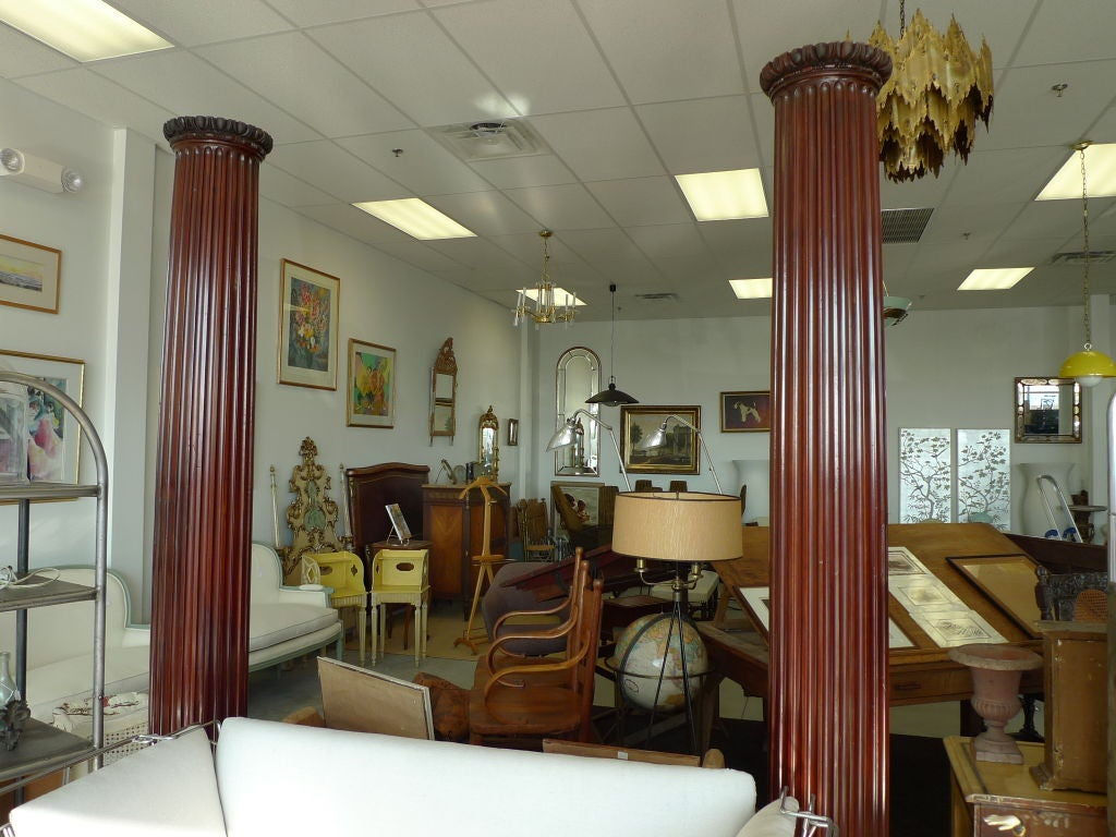 Pair of Antique Mahogany Columns 9